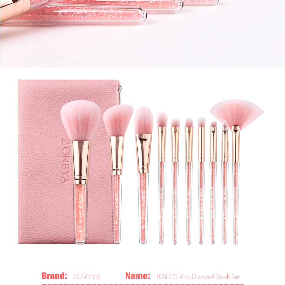 a0e1cd66c8f3 ZOREYA 10PCS Pink Crystal Makeup Brushes Foundation Concealer Blusher Make  Up Brush Set Super Soft Synthetic Hair Cosmetic Tools