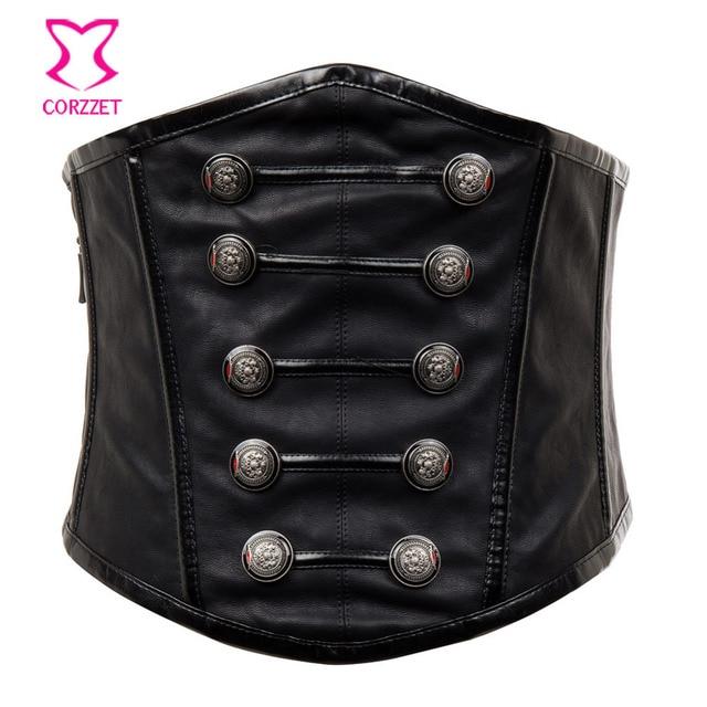 bbbcd0a71e Retro Punk Black Faux Leather Corset Belt Gothic Military Wide Waist Belt Steampunk  Corset Zipper Belts