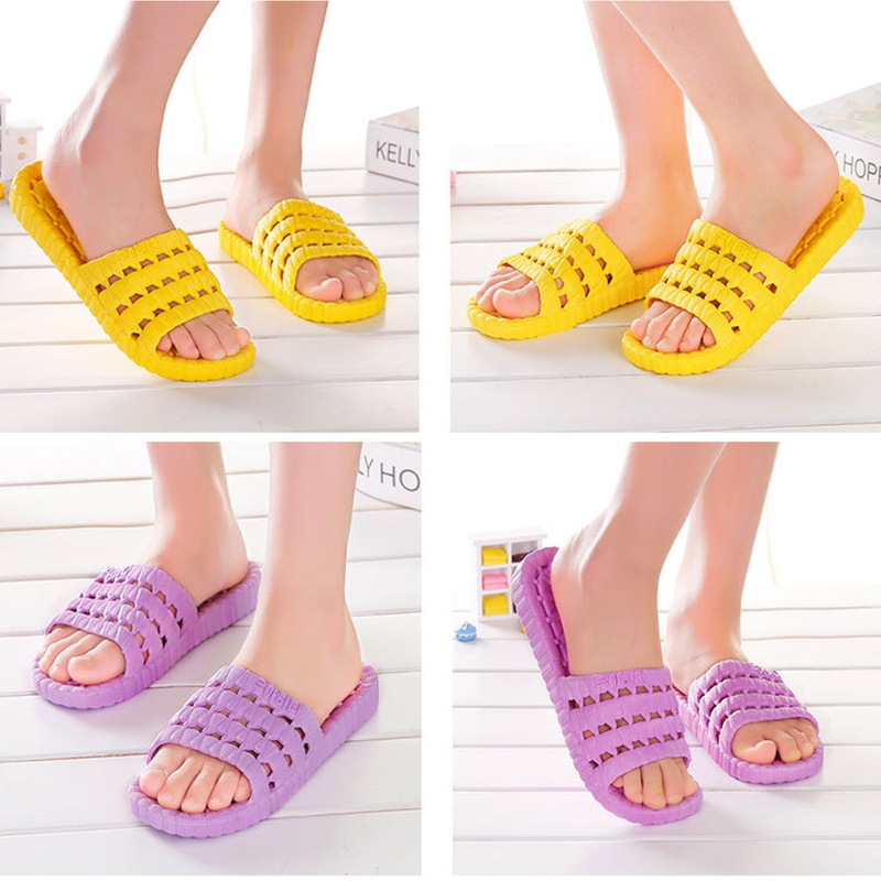 THINKTHENDO New Women Summer Super Hollow Out Type Fashion Slipper Water Leakage Non-Slip Bath/Home/Swimming/Travel Sandals