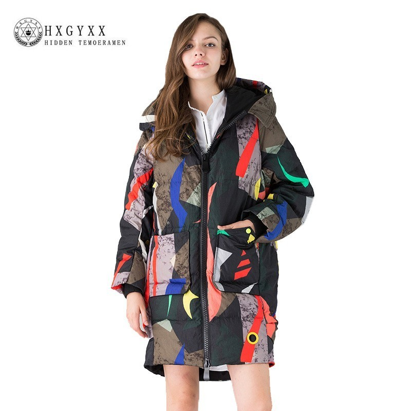 Winter Women   Down     Coats   Jackets Warm Woman   Down   Parka Camouflage Print Plus Size European Style Hooded Thickened Overcoat J041