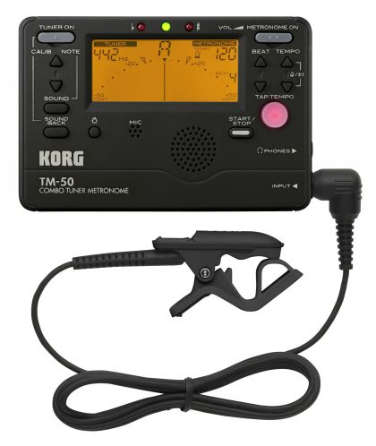 цена на Korg TM50 Metronome Tuner with Clip on Mic can be used for wind, Guitar, Ukulele, and Piano keyboard instruments