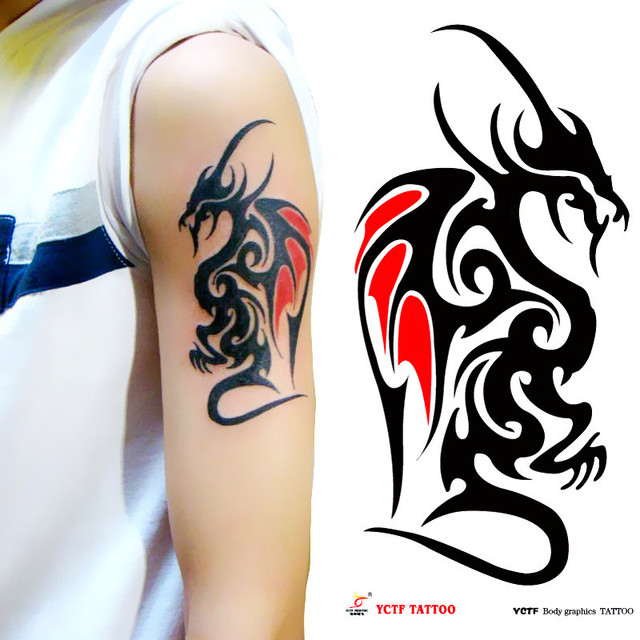 Temporary dragon tattoo large black arm makeup fake transfer tattoo  stickers hot sexy men women spray waterproof designs 6e226fb1a
