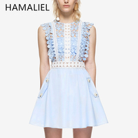 HAMALIEL New 2017 Summer Self Portrait Mini Dress Women Lace Patchwork Hollow Out Flowers Embroidery High