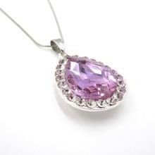 5138e63066040 Los niños de las niñas y las mujeres Princesa Sofia la primera cadena  collar de acero inoxidable con púrpura lágrima amuleto col.