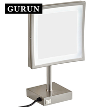 Gurun LED Make up Mirror-Professional Vanity Mirror Adjustable Countertop Makeup Mirror with LED Free shipping 2205DN
