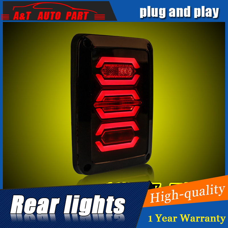 Car Styling LED Tail Lamp for JEEP Wrangler Tail Lights 1996-2015 Wrangler Rear Light DRL+Turn Signal+Brake+Reverse LED light car styling top mount hardtop rear grab handle bar front rear interior parts metal for jeep wrangler 2007 later