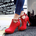 plus size 31 to 43 women high quality rhinestone ankle martin boot lady pu leather high heel winter and autumn shoes female shoe