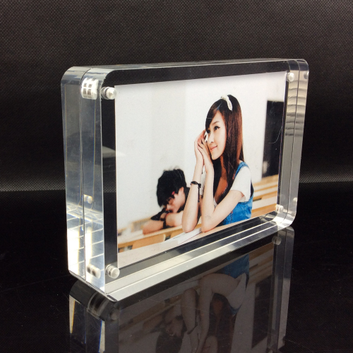 customized decorative picture frame transparent acrylic photo block with magnetic a4 ad showchina