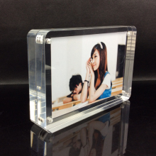 Customized  decorative picture frame transparent acrylic photo block with magnetic a4 ad show
