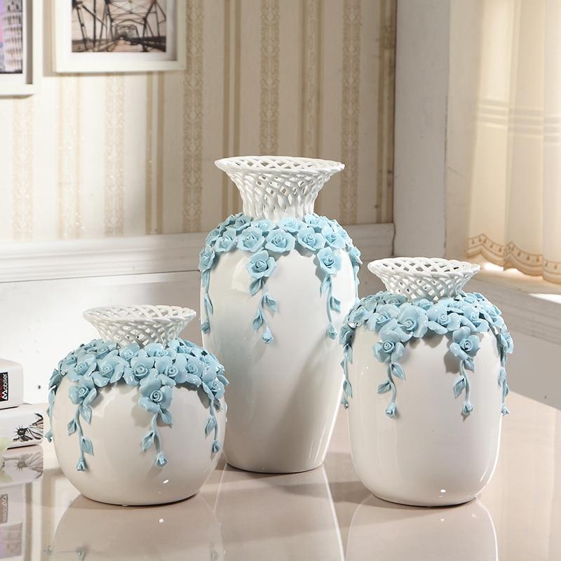 Modern Hollow Out Ceramic Flower Vase Decoration Carved Tabletop