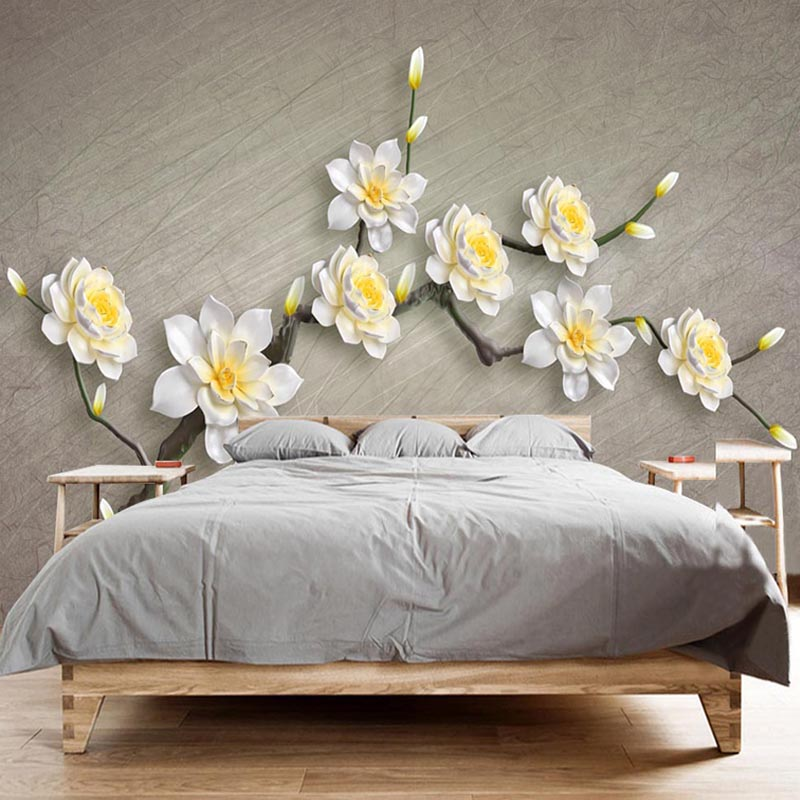 3D Wallpaper Modern Stereo Relief White Flowers Photo Wall Murals Classic Living Room Bedroom Home Decor Papel De Parede 3D Sala modern simple yellow flowers pearl photo wallpaper murals living room backdrop wall paper home decor papel de parede 3d paisagem