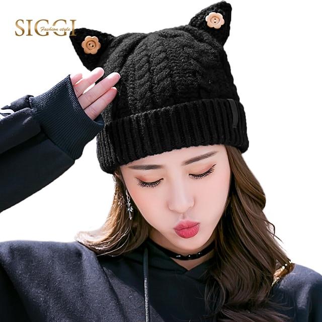f772bfd0377 FANCET Winter Warm Women Hat Beanie Cat Ear Wool Fleece Solid Girl Leather  Bonnet Knitted Hats Cute 2019 Skullies 89218