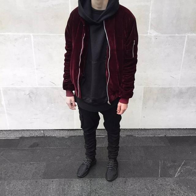 2017 Моды Kanye West Негабаритных Куртки Старинные Красное вино Мужчины Женщины Бархат Плиссированные Рукава Дизайнер Куртка Бомбардировщика Пальто