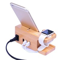 Universal Bamboo Desk Charger Stand 3 USB Ports Charging Station For ios Watch For iPhone X 8 Charge Holder Dock Band