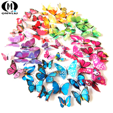 12-Pack Simulation Butterfly Color Single Layer 3D Sticker Colorful Colors Realistic and vivid effects