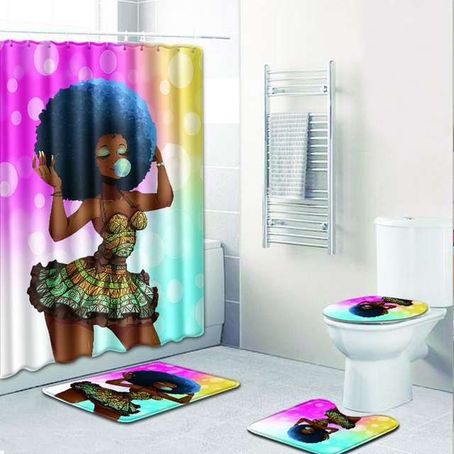 Sexy Skirt Girl Bathroom Curtain Waterproof Fabric African Women Shower And Carpet Set For Decoration