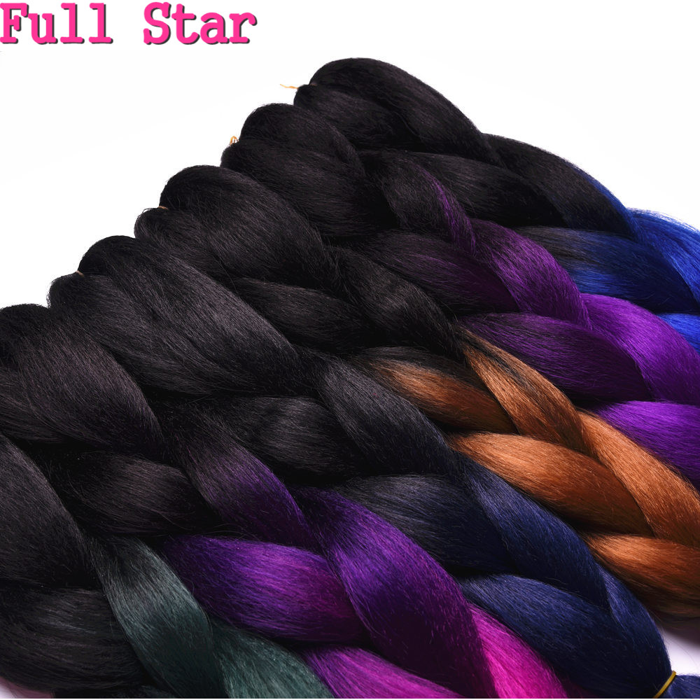 Full Star 6Packs Ombre Balck Purple crochet Braids Bulk Synthetic Hair 24'' 100g African Jambo Braiding Style Hair Extensions
