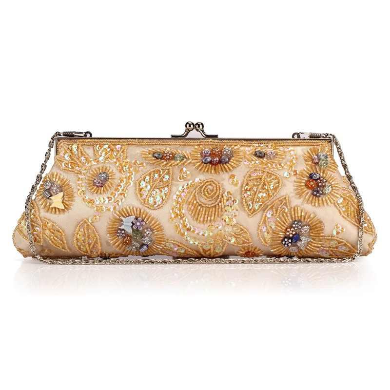 a81d32a1e713 2018 Винтаж мягкие атласные Для женщин сумка модные изысканные бусы Для  женщин клатч с вышивкой вечерние