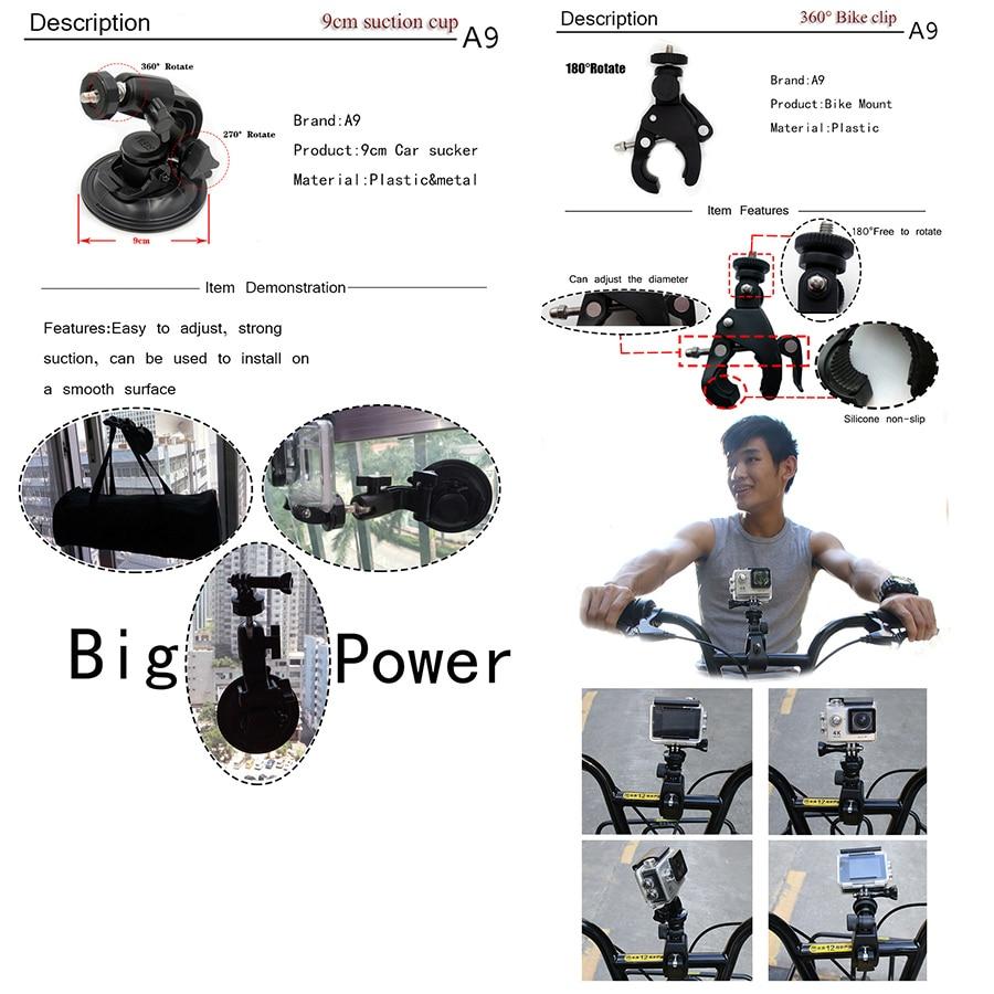 A9 Para Gopro set de accesorios go pro kit mount SJCAM Xiaomi Yi para - Cámara y foto - foto 2