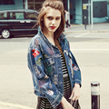 2016 autumn new women's European beading embroidered hand Frayed worn loose denim jacket w1221 free shipping