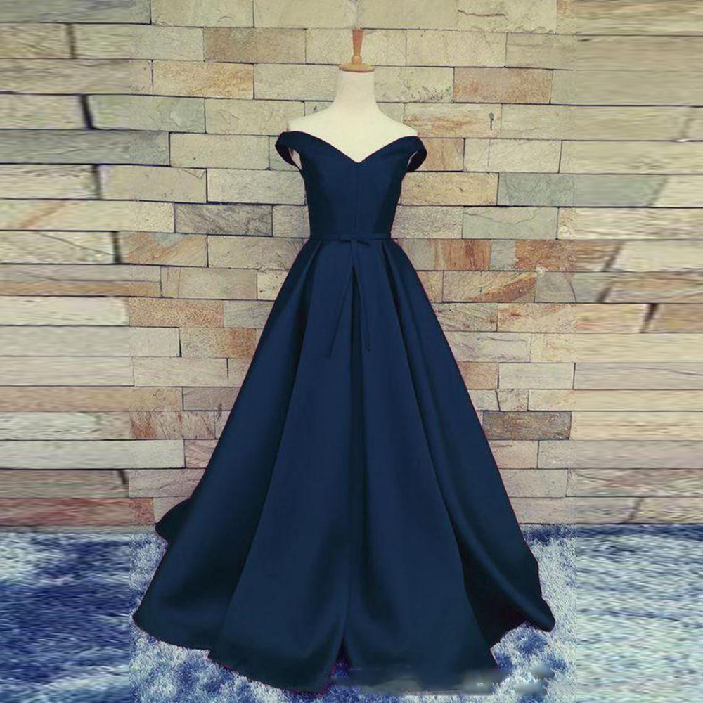 Vestidos De Gala Largos De Noche Navy Blue Evening Dresses Long Party Gowns 2019 Abiye Gece Elbisesi Abendkleider Formal Dress