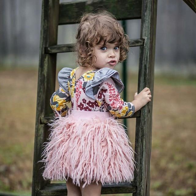 6e400af16014 Sunshine   Rainy Skirt For Girls Ins Pink Fluffy Faux Fur Baby Girl ...