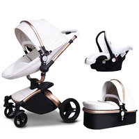 HK free ! Babyfond high quality leather baby car baby stroller 3 in 1 baby carriage 2 in 1 baby stroller Aluminum alloy frame