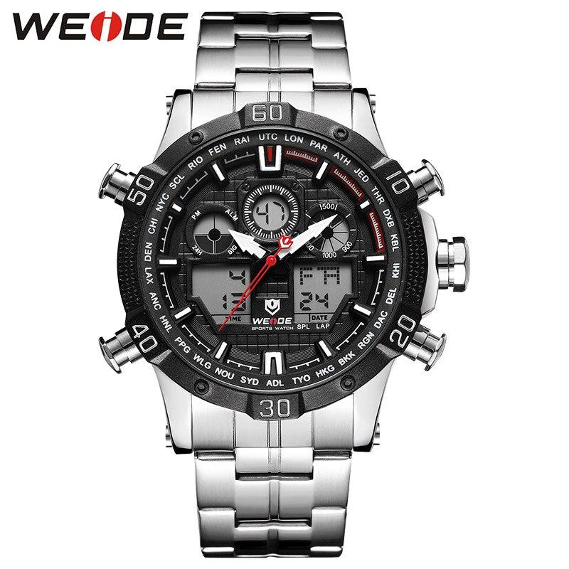 WEIDE Quartz sport montre décontracté véritable hommes montres marque de luxe hommes montre résistant à l'eau en acier inoxydable numérique led