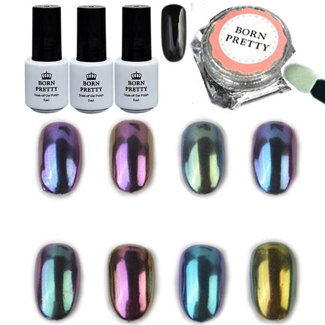 12pcs Set Shinning Chameleon Mirror Nail Glitter Powder Black Uv Gel Gorgeous Chrome Pigment Kit