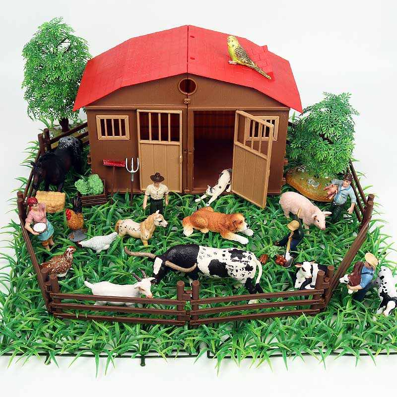 Oenux Farm House Model Action Figure Zoo Staffer Feeder Boy Cow Pig Duck Dog Farm Animals Set Figurines Lifelike Toy Kids Gift