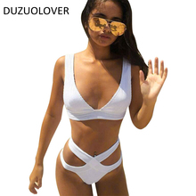 2017 Women Sexy Bikini Set Solid Bandage Swimwear White Bikinis Push up Retro Swimsuit Cross Swimwear Halter Strapless Biquini