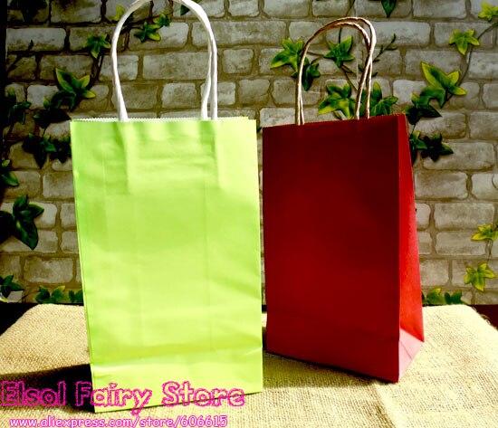 20 unids-Luz verde, rojo bolsa de regalo de papel, bolsa de Papel con asas, Fest