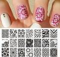Nail Art Sello Placa de la Imagen Plantilla de onda y Patrones de Textura NACIDO PRETTY L005