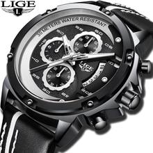 лучшая цена LIGE New Fashion Quartz Watch Men Leather Top Brand Luxury Business Clock Male Waterproof Sports Chronograph Erkek Kol Saati