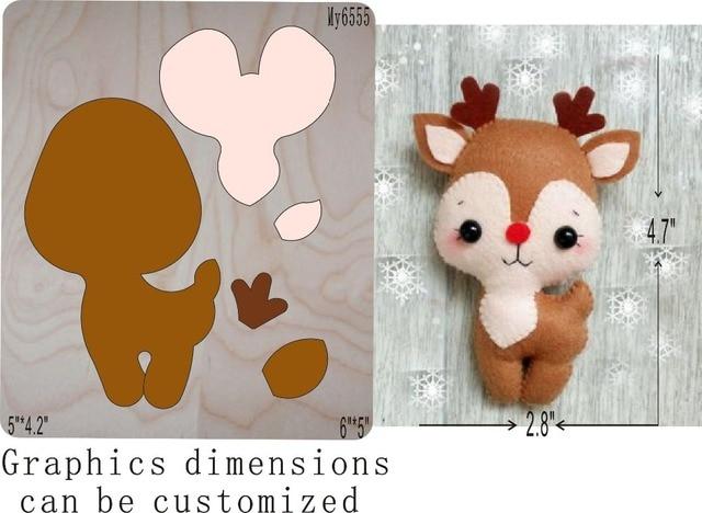 Christmas deer-3die cut accessories wooden die  Regola Acciaio Die Misura ,   MY