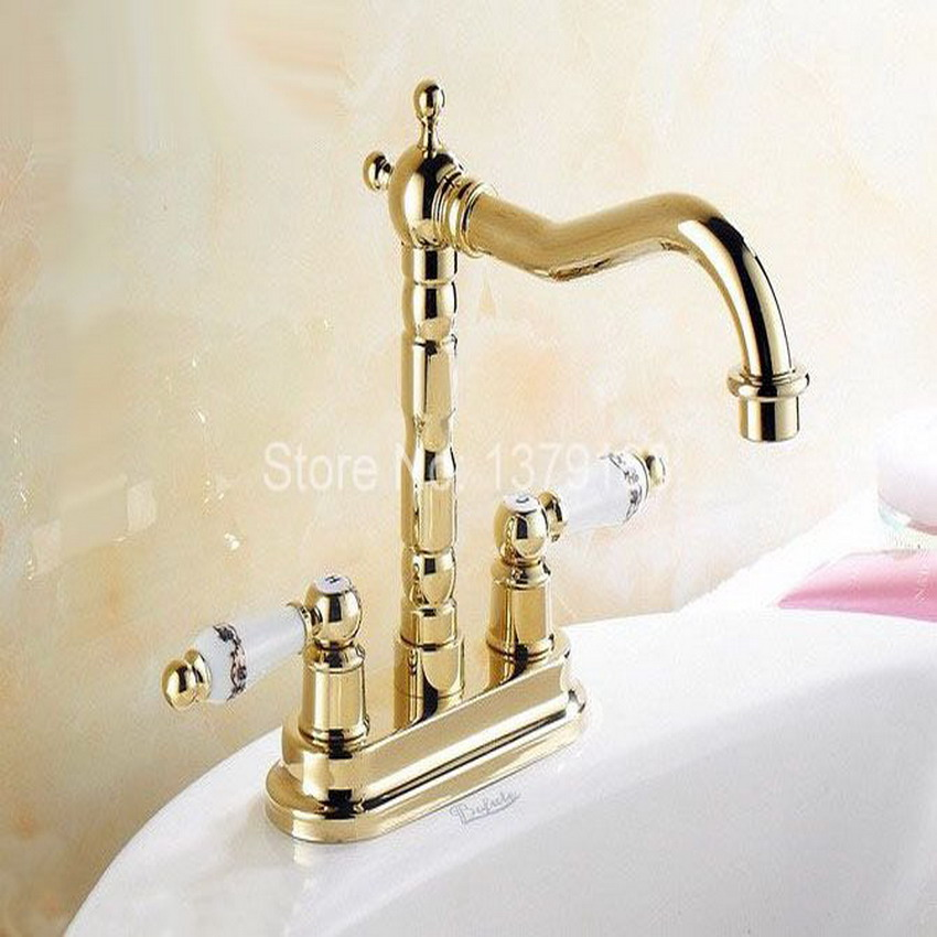 Luxury Polished Gold Color Brass Kitchen Bathroom Vessel Sink Two Holes Faucet Dual Ceramics Handles Water Tap anf322 us free shipping antique brass kitchen sink vessel faucet mixer tap dual handles dual holes wall mounted