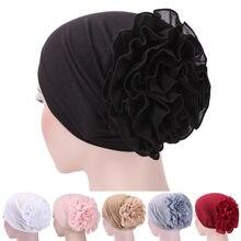 Mulheres meninas floral laço turbante chapéu índia boné muçulmano chapéus hairnet quimio boné flor gorro