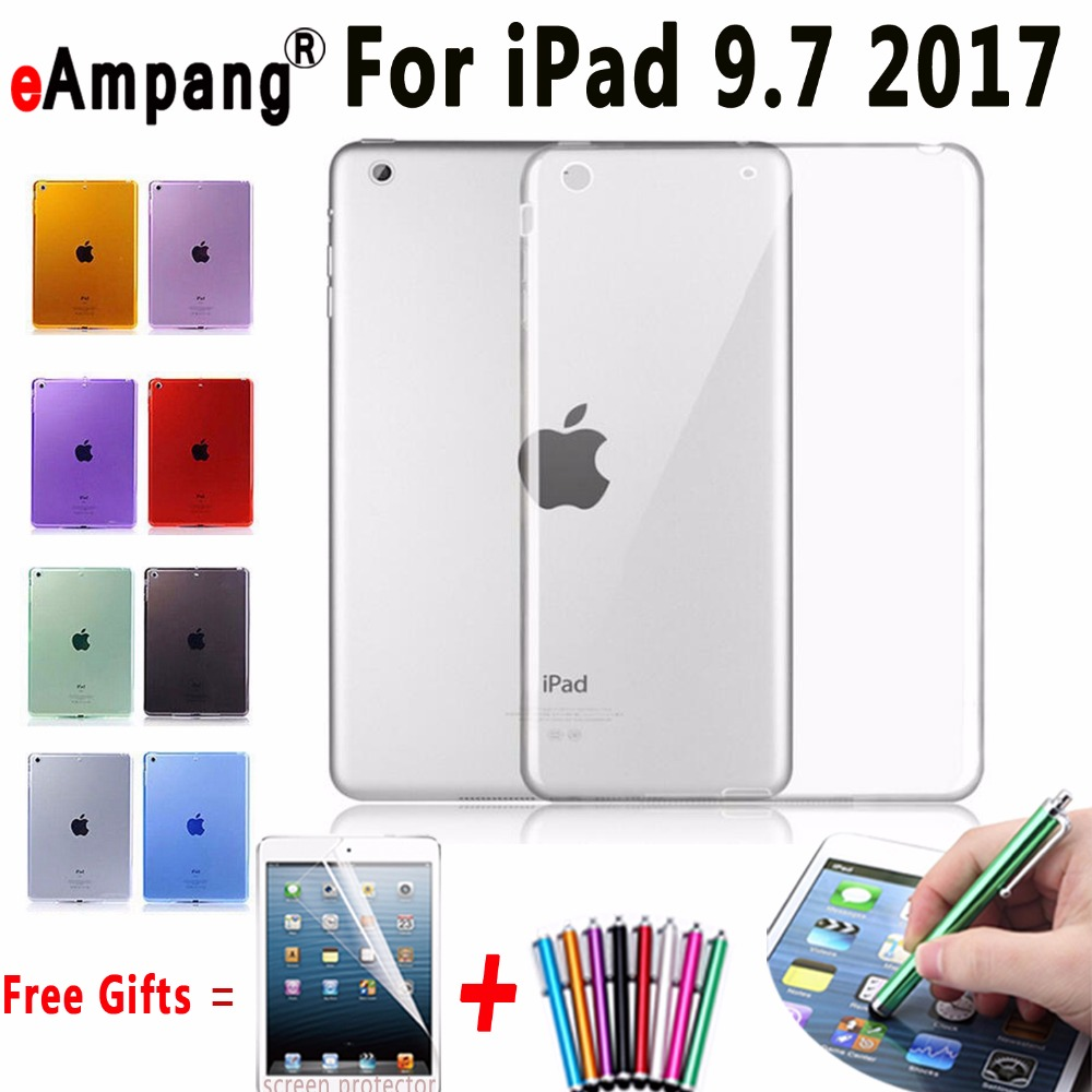 Soft TPU Cover for Apple iPad 9.7 2017 Case Silicone Transparent Case for ipad 9.7 A1822 A1823 Slim Clear Cover for New iPad 9.7 nice soft silicone back magnetic smart pu leather case for apple 2017 ipad air 1 cover new slim thin flip tpu protective case