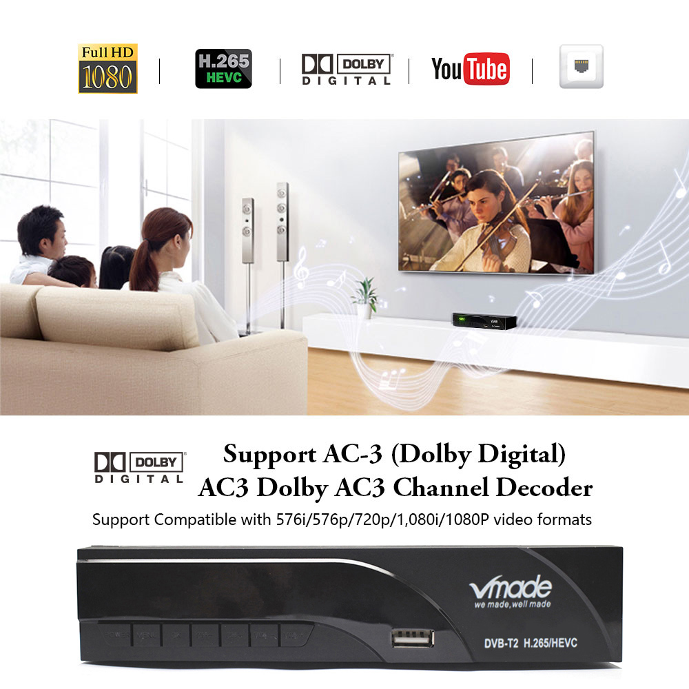 Image 2 - Vmade DVB T2 K6 scart Digital Terrestrial TV Receiver Fully HD 1080p H.265 / HEVC Support Dolby AC3 DVB T2 Set Top Box+USB WIFI-in Satellite TV Receiver from Consumer Electronics