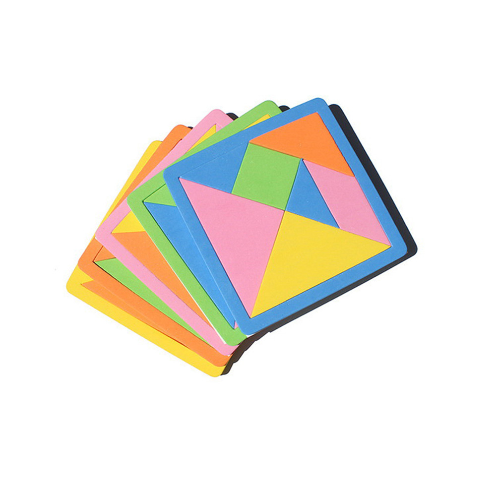 Learning Education Puzzle Toys EVA 3d Puzzle Tangram Teaser Tetris Geometric Shape Jigsaw Game  For Children Brain