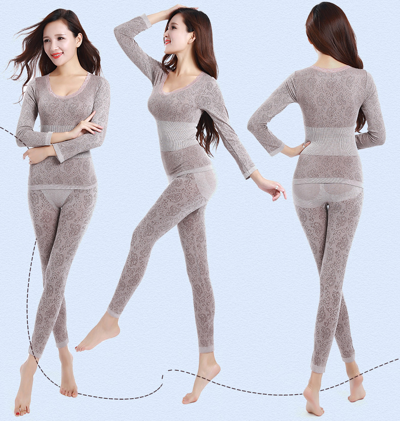 Long Johns Women For Winter Sexy Women Thermal Underwear Suit Women Body Shaped Slim Ladies Intimate Sets Female Pajamas Warm 9