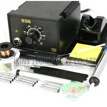 936 набор паяльной станции, регулируемый Электрический паяльник, сварочный Ремонтный комплект, набор паяльных наконечников+ нагреватель+ Пинцет 220 В или 110 В