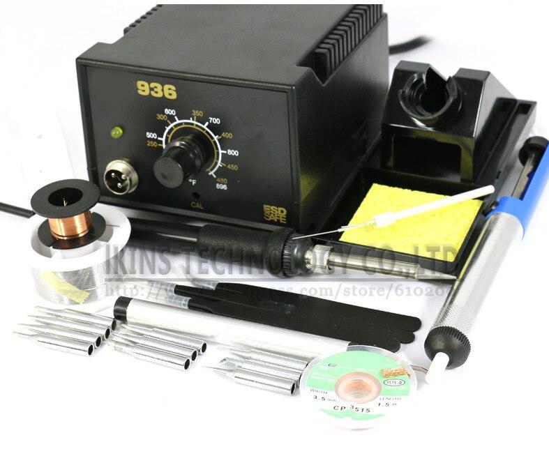 936 Stazione di Saldatura kit set Regolabile Elettrico saldatore Saldatura kit di riparazione SET Punte di Saldatura + riscaldatore + Pinzette 220 V O 110 v
