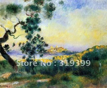 Free fast Shipping,100%handmade,Oil Painting Reproduction,view of antibes by pierre auguste renoir,oil painting on linen canvas