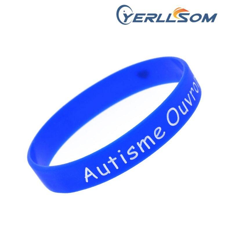 Takı ve Aksesuarları'ten Bilezikler'de 200 adet/grup Ücretsiz Kargo Özelleştirilmiş 1/2 Inç mavi silikon bilezikler özel logo hediyeler için YD061406'da  Grup 1