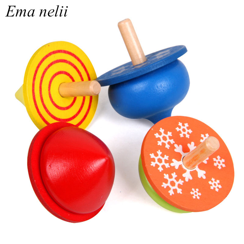 1 PC Colorful Wooden Gyro Toys for Boys Children Adult Relief Stress Desktop Spinning Top Toy Kids Birthday Gifts Random Color