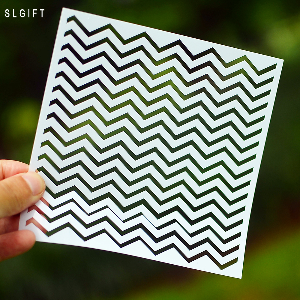 Decorative Layering Chevron Zigzag Stencils For DIY Scrapbooking/photo Album Decorative Embossing DIY Paper Cards Crafts