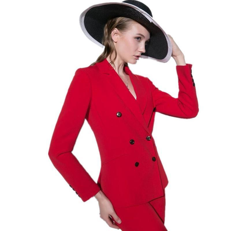New Red Women Suits Double Breasted Formal Casual Office Business Pant Suit Party Blazers B331