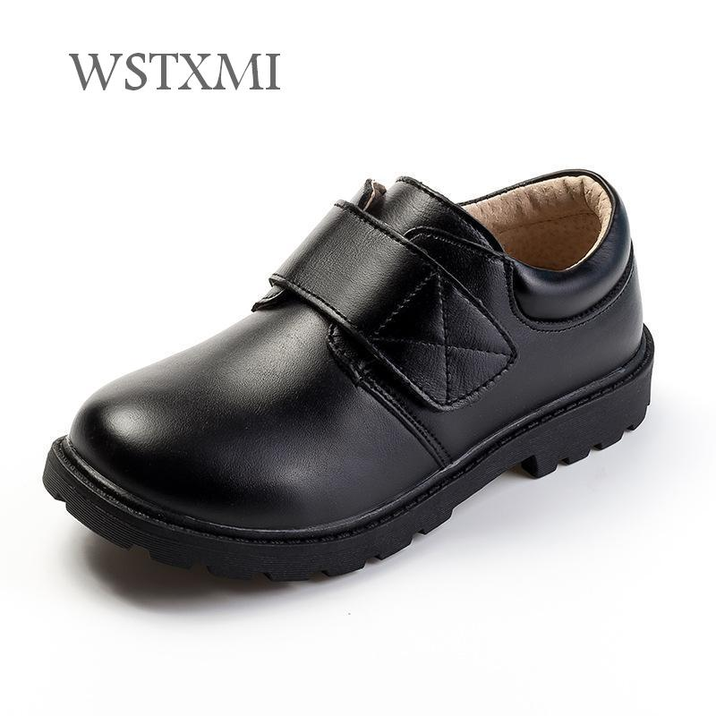 Boys Dress Leather Shoes for Children Black Genuine Leather Wedding Oxford Shoes Kids Cowhide Etiquette School Shoes Rubber Sole