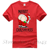 Merry Kiss My Ass Christmas Santa's Hairy Bum Funny Mens T-Shirt Short-Sleeved Print Letters